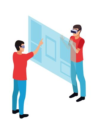 virtual reality technology, young men friends living a modern digital experience with headset glassestouching screen cartoon vector illustration graphic design 일러스트