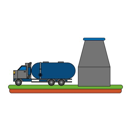 oil refinery gas factory industry petrochemical petroleum storage tank plant with shipping truck cartoon vector illustration graphic design