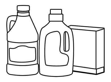 laver et nettoyer la bouteille de détergent et la boîte et l'icône d'eau de Javel cartoon en noir et blanc vector illustration graphic design