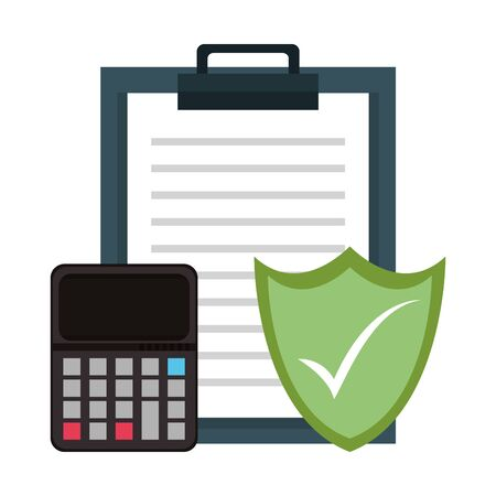 Report clipboard with calculator and shield security symbols vector illustration graphic design