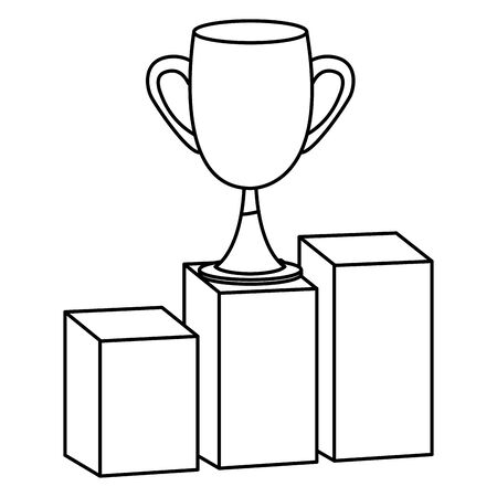 Office elements and business symbols trophy cup on statistics bars ,vector illustration graphic design. Çizim