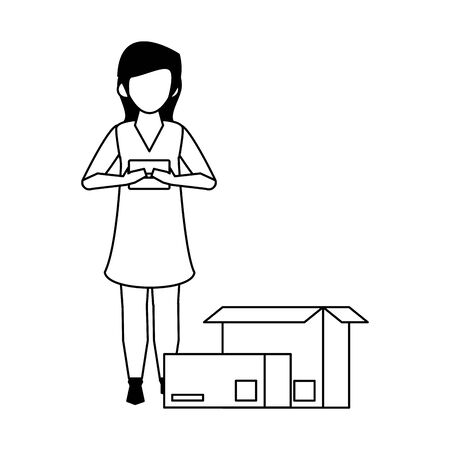 woman using smartphone mobile technology for read chat message from logistic and delivery service cartoon vector illustration graphic design 일러스트