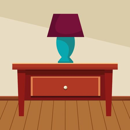 House decoration wooden drawer with light lamp home building interior scenery with wooden floor ,vector illustration graphic design. Ilustração