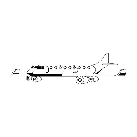 Jet airplane aircraft side view isolated vector illustration graphic design Ilustração