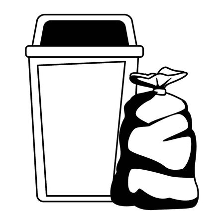 garbage can and bag icon cartoon in black and white vector illustration graphic design Illustration