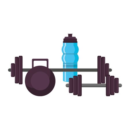 fitness equipment workout health and weights,water flask isolated symbols vector illustration graphic design