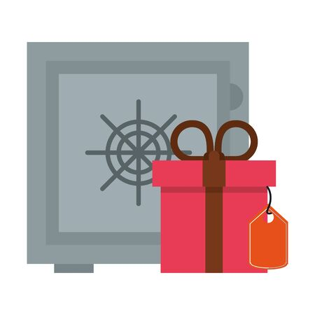 Strongbox and giftbox with label tag symbols vector illustration graphic design