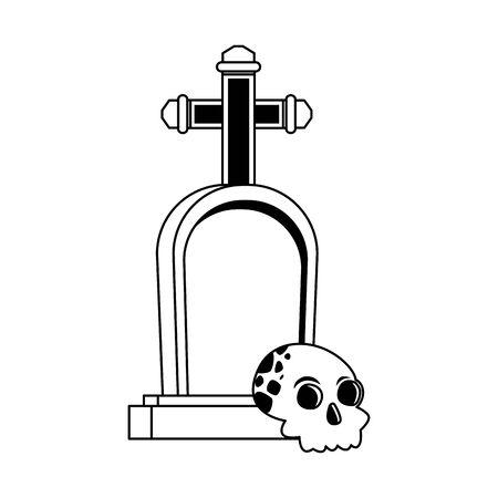 halloween head skull with graveyard vector illustration design