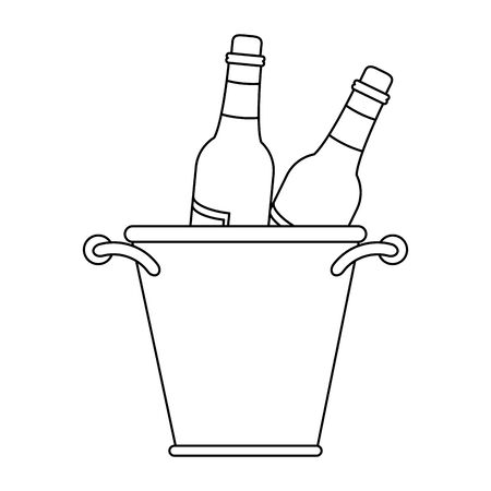 ice bucket with wine bottles over white background, vector illustration Illusztráció