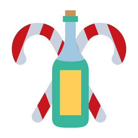 merry christmas sweet canes with champagne bottle vector illustration design