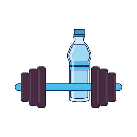 fitness equipment workout health and weights water bottle isolated symbols vector illustration graphic design Illusztráció