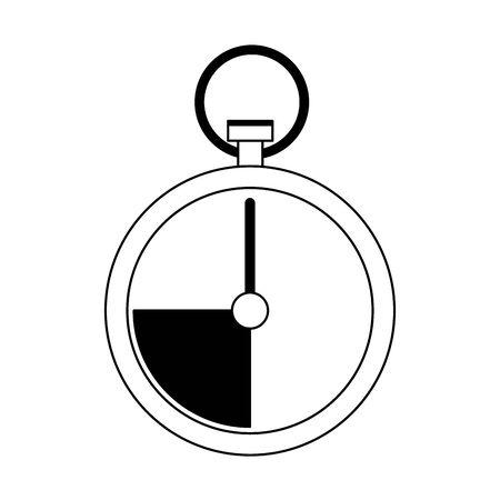 chronometer icon over white background, black and white design. vector illustration