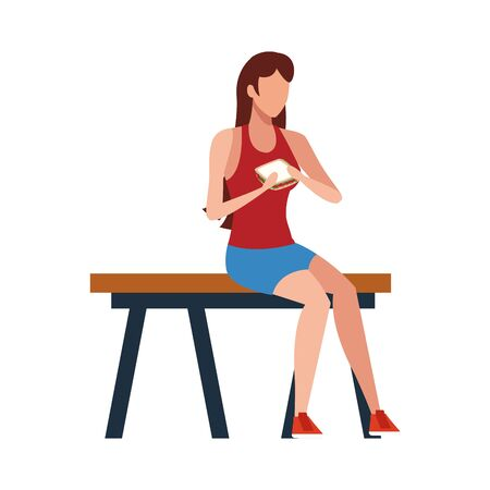 avatar woman eating a sandwich and sitting on a bench over white background, vector illustration