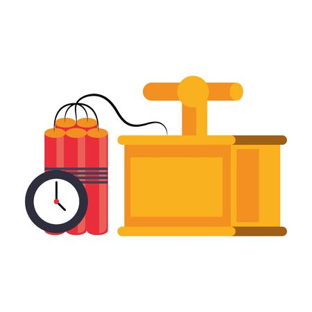 Mining tnt detonator with timer equipment vector illustration graphic design