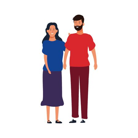 cartoon adult couple standing and wearing casual clothes over white background, vector illustration