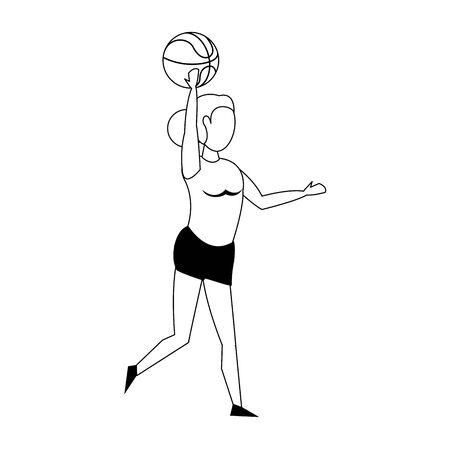Fitness woman playing basketball sport isolated cartoon vector illustration graphic design