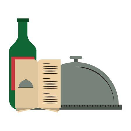 restaurant food and cuisine bottle with wine, food tray and menu icon cartoons vector illustration graphic design Illusztráció