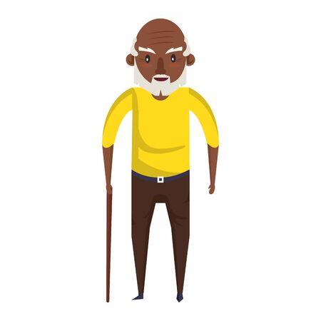 grandparent senior old retirement afro grandfather cartoon vector illustration graphic design