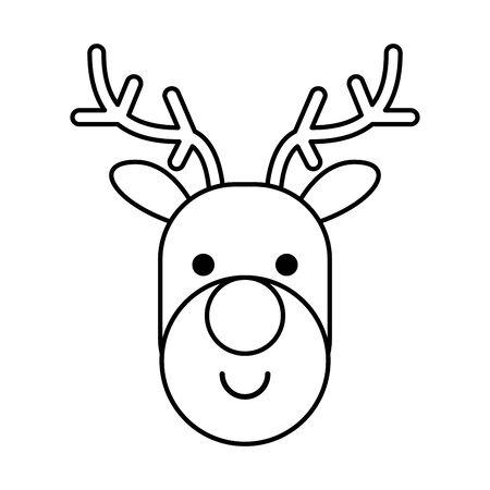 happy merry christmas reindeer character vector illustration design Vektorové ilustrace