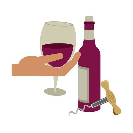 hand with a winglass and corkscrew utensil icon over white background, vector illustration Ilustração