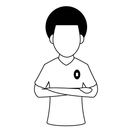 Soccer player with arms crossed profile cartoon vector illustration graphic design