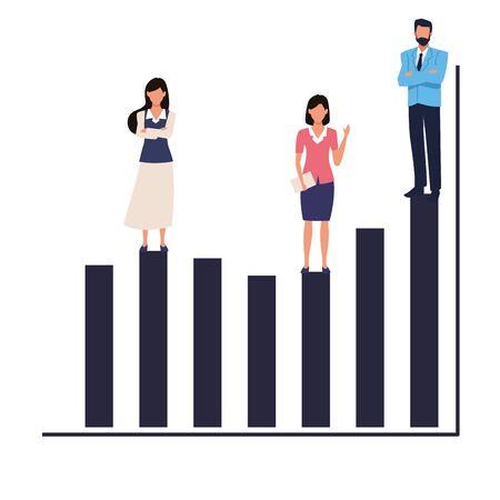 Executive business entrepreneur teamwork on statistics profit bars ,vector illustration graphic design. Illustration