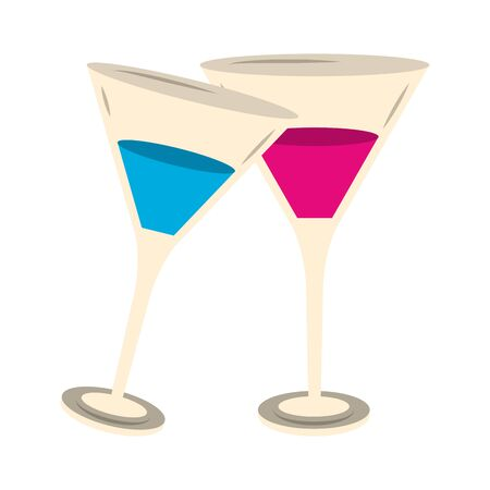 Cocktail martinis drinks over white background, vector illustration
