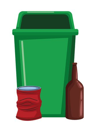 plastic garbage can, crumpled aluminum can and glass bottle icon cartoon vector illustration graphic design Illustration