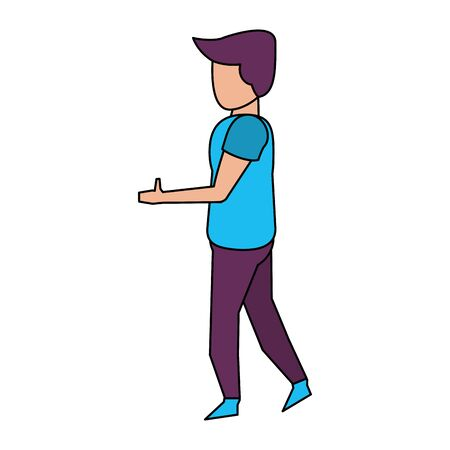 young casual man body without face wearing blue t shirt cartoon vector illustration graphic design Archivio Fotografico - 133771865