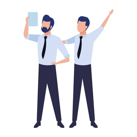 Successful businessmen working with office documents colorful isolated faceless avatar vector illustration graphic design