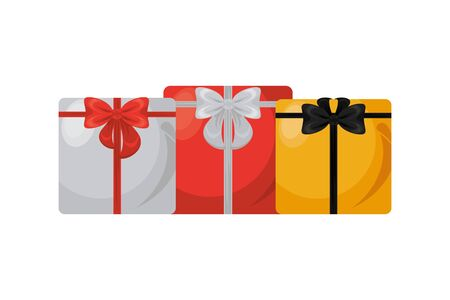 giftboxes presents with bows icons vector illustration design