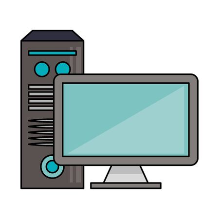 Computer monitor and cpu technology vector illustration graphic design