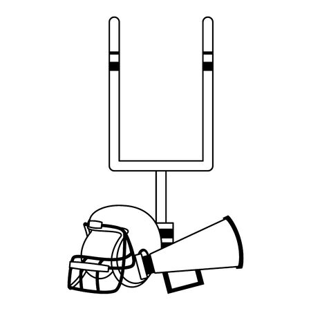 american football sport game goal post with helmet and megaphone speaker cartoon vector illustration graphic design