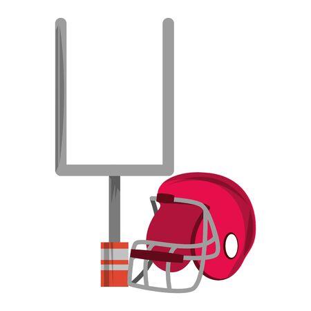 american football sport game goal post with helmet cartoon vector illustration graphic design