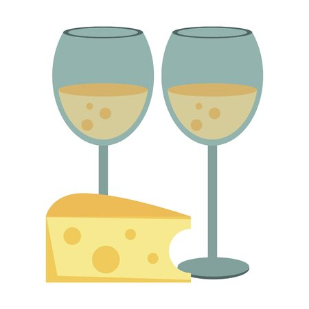 wine glasses and piece of cheese over white background, colorful design. vector illustration Ilustração