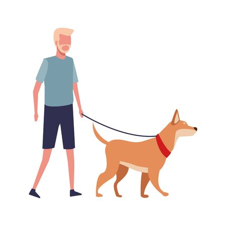 avatar old man wearing sport clothes and walking whit a dog over white background, colorful design. vector illustration