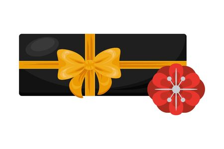 giftbox present with bow and flower vector illustration design