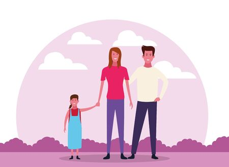 cartoon happy family with daughter over white background, colorful design. vector illustration