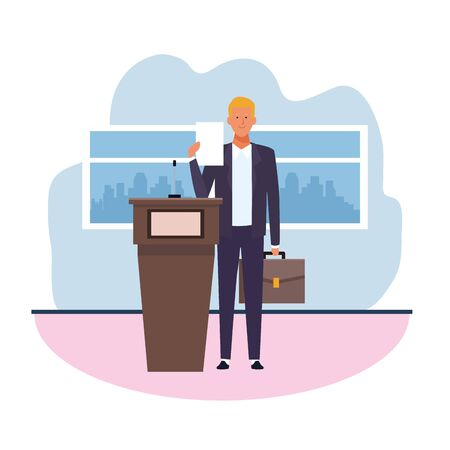 cartoon businessman standing holding a briefcase and conference podium, colorful design. vector illustration