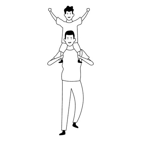 cartoon with dad with son on his shoulders over white background, vector illustration Ilustracja