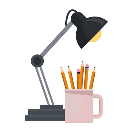 Wooden pencils with eraser in cup and desk light ,vector illustration graphic design.