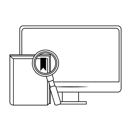computer with book and magnifying glass over white background, vector illustration