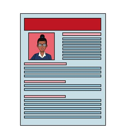 businesswoman afroamerican with glasses and bun avatar cartoon character profile picture portrait in curriculum vitae vector illustration graphic design Ilustrace