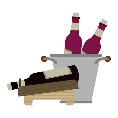 ice bucket with wine bottles and holder with wine bottle over white background, vector illustration Ilustração
