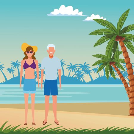 summer vacation family parents at beach cartoon vector illustration graphic design Ilustrace