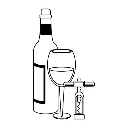 corkscrew utensil icon over white background, vector illustration Ilustração