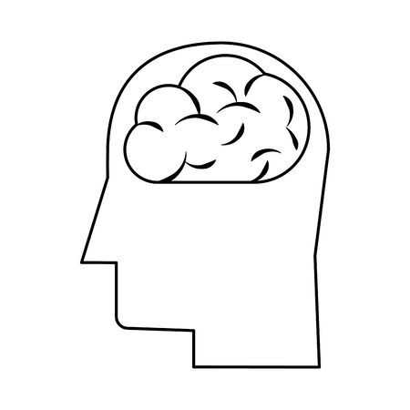 human brain cartoon vector illustration graphic design in black and white