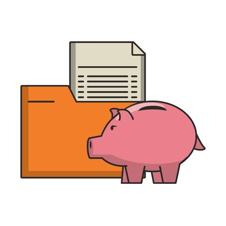 Money piggy with folder and documents vector illustration