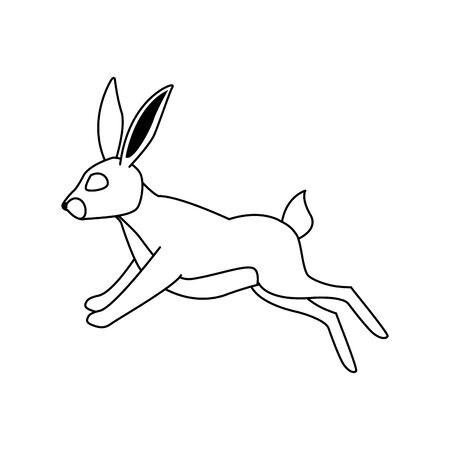 cartoon rabbit jumping over white background, vector illustration