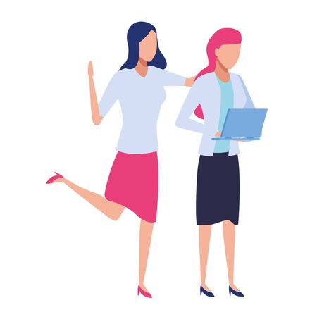 Businesswomen working with office documents colorful isolated faceless avatar vector illustration graphic design